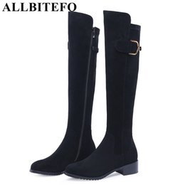 Muslos gruesos tacones online-ALLBITEFO marca moda flock tacones altos botas de mujer tacón grueso sobre la rodilla botas altas winer nieve cálido chicas muslo