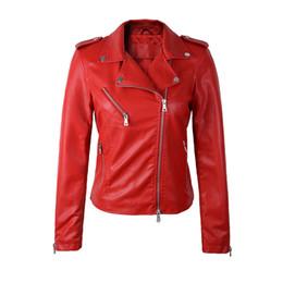 2019 chaqueta de cuero mujer punk rock Al por mayor-alta calidad Nuevo 2016 Otoño Invierno Moda Turn-down Collar corto Chaqueta de cuero Negro Slim Red Leather Coat Drop envío gratis