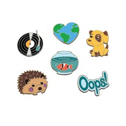 Wholesale Dog Jeans Clothing - Cartoon Cute Map Album Dog Fish Tank hedgehog Brooch Pins Button Pins Jeans Clothes Decoration Fashion jewelry Gift Wholesale