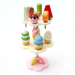 Wholesale Ice Cream Stands - Wholesale- New Wooden Kids Toy Play House Strawberry Ice Cream Stand Christmas Gifts 1 Set Girls Kids Children Toys
