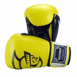 Boxeo pretoriano online-5 Color Pretorian 14OZ 16OZ Guantes de boxeo mujeres hombres Muay Thai PU cuero guantes de boxeo Punzón Lucha Kick Boxing Glove