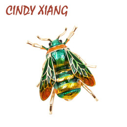 Wholesale Gold Bee Pin Brooch - CINDY XIANG Unisex Colorful Insect Brooches Cute Bee Brooch Pin Gold Color Enamel Jewelry Fashion Dress Accessories High Qulity