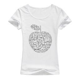 Wholesale Formula Blue - 2017 Summer apple mathematical formula t shirt women Equation formula printed T-shirt Cotton Female Tops Cool Tees A131