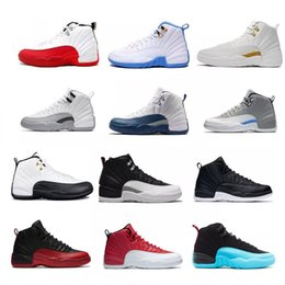 Wholesale Red Rose Boots - WholeSale mens 12 XII Basketball Shoes High Cut Boots High Quality Sneakers Black White Red Sports Shoes Man Women 12s Size36-47