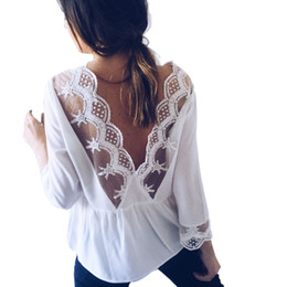 49c077fae133a Women Backless Sexy Blouse O-Neck Three Quarter Length Sleeve Split Lace  Shirt Lady Elegant Top Camisa Feminina #JN lace three quarter sleeve blouse  deals