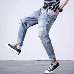 771154ee4ae 2018 Fashion Men Jeans Blue Color Destroyed Ripped Jeans Punk Style Tapered Pants  Straight Fit Big Size S-6XL Hip Hop Men