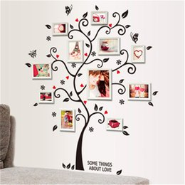 Wholesale photo adhesives - DIY Family Photo Frame Tree Wall Sticker Home Decor Living Room Bedroom Wall Decals Poster Home Decoration Wallpaper