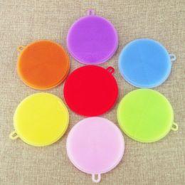 silicone antibacteriano Desconto 7 cores anti-bacteriano antibacteriano esponja de lavar louça escova de limpeza de cozinha scrubber essencial fruta vegetal limpar