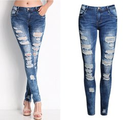 Wholesale Modern Jeans For Women - 2018 new ladies cotton denim black white stretch ripped jeans for women pencil skinny jeans woman jeans female