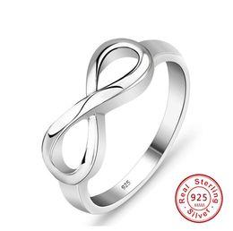 Bijoux infinity friends en Ligne-925 Sterling Silver Infinity Anneau Eternity Ring Charms Meilleur Ami Cadeau Endless Love Symbol Anneaux De Mode Pour Les Femmes bijoux