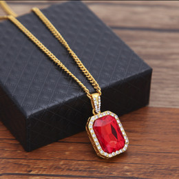 2019 золотые ожерелья рубина Mens Bling Faux Lab Mini Ruby Pendant Necklace 24