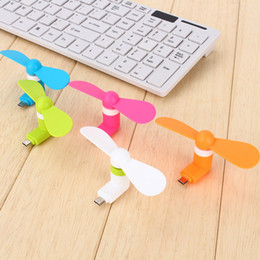 Wholesale otg for android - 2 in 1 MINI Micro USB Fan Cool Cooler portable USB Fans for Samsung Android Universal OTG Cellphone I5 I6 I7