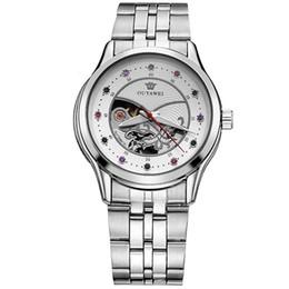 Ouyawei relógios automático de aço inoxidável on-line-OUYAWEI Moda Feminina Movimento Mecânico Automático Relógio de Senhoras Vestido de Aço Inoxidável Relógios de Esqueleto Relógio Relogio feminino OYW1708