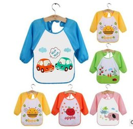Wholesale dress bibs - Children Bib Burp Baby Todders Waterproof Long Sleeve Art Smock Bibs Apron Cartoon Baberos Bavoir Cloth Bib Feeding Dress