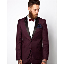Argentina Guapos Un botón de Borgoña Novio traje de hombres Trajes de esmoquin Hombre de boda para hombre Trajes de baile para el novio (chaqueta + pantalón + pajarita) cheap mens burgundy bow tie Suministro