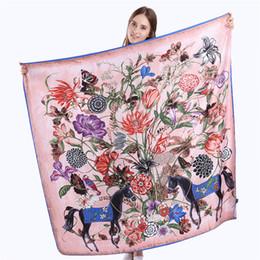130cm x 130cm 100% Twill Foulard En Soie Des Femmes Espagne Floral Cheval Foulards Carrés Wraps Bureau Dame Foulard Femme Accessoires De Mode ? partir de fabricateur