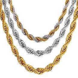 Wholesale Perfect Wedding Anniversary Gift - Gold Chains for Men Necklace Bracelet Gold Plated Twist Chain Fashion Stainless Steel Color Plated 18K Gold Chains for Men Perfect Necklaces