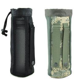 Bottiglia di acqua tattica online-Tactical Water Bottle Pouch MOLLE bollitore d'acqua Titolare 1000D Nylon impermeabile da viaggio coulisse Biberon Carrier per gli sport all'aria aperta
