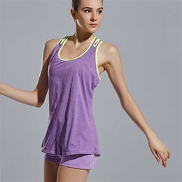 Wholesale Womens Training Top - Women Summer Gym Sports Vest Shirt Fitness Workout Tank Top Training Exercise Yoga Womens Clothes Sport Clothing Female Tops