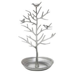 Wholesale silver earring display stand - Silver Birds Tree Tabletop Jewelry Display Necklace Earring Stands Ring Bracelet Jewelry Holder Tree Organizer Rack Tower