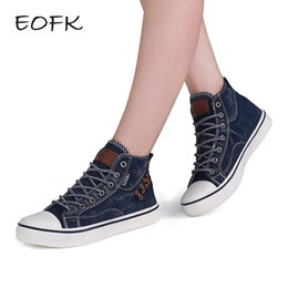 871f28451ea5b EOFK 2017 New Fashion Women High Top Canvas sneakers Shoes Women s Denim  Ankle Lace Up Ladies Ankle Canvas Shoes Woman
