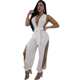 a6fae7bfd86 Sexy Jumpsuit 2018 New Hollow Out Deep-V Black White Summer Overalls Split One  Piece Backless Rompers Womens Jumpsuit