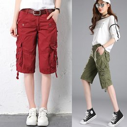 Wholesale Flattering Pants For Short Women - 2018 Spring Summer Casual Shorts Cotton Women Cargo Pants Outdoor Large Size Loose Hiking Pants for Female Black Red Army Green
