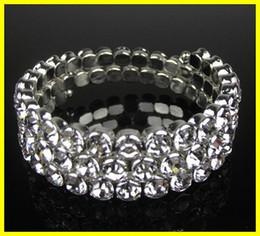 Wholesale Wedding Jewelry Sets For Cheap - 2017 Cheap 15009 3 Bow Rhinestone Bangle Bracelet Wedding Party Bridal Jewelry Cheap Bracelet for Girls Party Prom Evening
