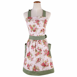 Wholesale wholesale work dresses for women - 2017 hot Retro antifouling Cute Coon Kitchen Aprons Rural style for woman Delantal Cooking work Tablier Dress Vintage