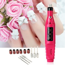 Wholesale Professional Electric Nail Files - 1set 6bits 20000rpm Professional Electric Manicure Machine Nail Art Drill Pen Pedicure File Polish Shape Tool Feet Care Product