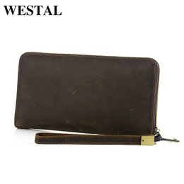 WESTAL Crazy Horse Leather Men Wallets Long Zipper Money Purse Man Clutch  Wallets Vintage Fashion Leather Men Bag Handbag 8801 7d14c86d33eb6