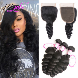wholesale silky hair Promo Codes - 9A Brazilian Virgin Human Hair Weave Unprocessed Body Wave Loose Silky Straight Natural Color 4x4 Lace Closure With 3 Bundles From Ms Joli