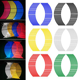 serbatoio del gas del motociclo di honda Sconti Adesivo nastro riflettente adesivo per auto Cerchio striscia adesivo decalcomania Accessori auto Adesivo nastro adesivo cerchio 16pcs / Set