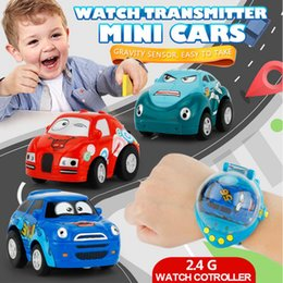 Wholesale remote control car watch - Mini Cartoon Car Control Cars with Watch With 2.4G 1:58 Novelty Children Remote Gravity Sensing RC Car Toy Party Favor AAA275