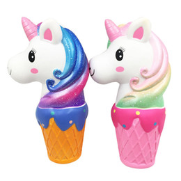 Kawai squishy online-Novità gelato unicorno Squishy Slow rimbalzo PU pane Spremere giocattoli cartoon Kawai Decompression Toy C4623