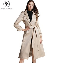 trench coat overcoat Canada - 2018 Autumn New High end Trench coat women Fashion Turn-down Collar Slim Belt Long coat Female Casual Business Overcoat LGP738