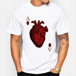Wholesale poker sleeve - new arrivals 2017 men's fashion designer heart poker t-shirt Harajuku funny tee shirts Hipster O-neck cool tops
