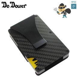 Wholesale fiber chocolate - Carbon Fiber Metal Rifd Wallet Mini Money Clip Brand  ID Holder With RFID Anti-chief Card Wallet Porte Carte