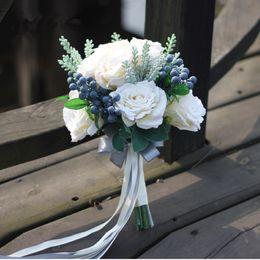 2019 fã de ouro rosa Jane Vini 2018 Wedding Bruidsboeket Branco Handmade Folha Rose Bridal Bouquets Para Bouquets de casamento Flores broche na lapela De Mariage