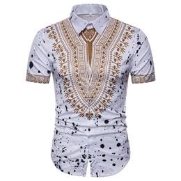 African Gedruckt Weiß Schwarz Shirt Männer Neue Slim Fit Kurzarm Casual  Mens Dress Shirts M-3XL 3b92490ba1