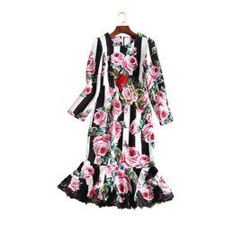 0361196ca43f Mermaid Dress Women Long Sleeve Lace HIGH QUALITY Designer Runway Dress