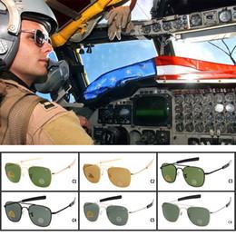 occhiali da sole ao Sconti Brand New AO Occhiali da sole Pilot Optical americani Occhiali da sole Pilot originali OPS Mens Army Occhiali da sole UV400 con custodia per occhiali