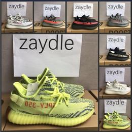Wholesale Tinted Pvc - 2018 350 V2 Semi Frozen Yellow Blue Tint Bred Beluga 2.0 Sneakers Sply 350 v2 Zebra Cream White Mens Womens Running Shoes