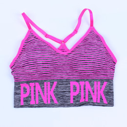 Wholesale push up tank - love pink stripe Running Sports bra Tracksuits for Yoga Gym pink letter striped sport underwear Push Up Paded Bra Fitness Running Tops Vest