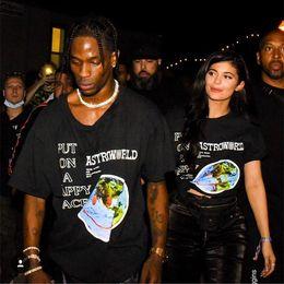 Argentina Hombre Ropa CAMISETA Astroworld Merch Tee Down To Earth Letras Imprimir Camiseta Travis Scott Parejas Hip POP top supplier earth clothes Suministro
