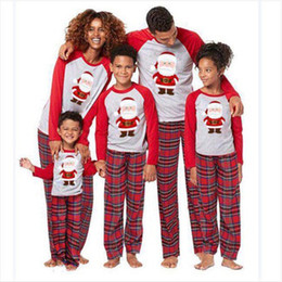 Hot Family Clothes Matching Outfits Father Christmas Costumes Pajamas Sets  Baby Kids Mommy Daddy Sleepwear Cotton Plaid Nightwear Tops Pants 2600f1147