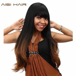 2019 ordentliche ponyperücke AISI HAAR synthetische Ombre Perücken für schwarze Frauen lange gewellte Cosplay dunkelbraun Haar mit ordentlichen Pony Frisur rabatt ordentliche ponyperücke