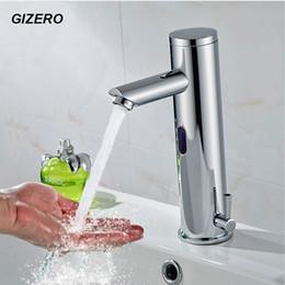 Torneira de água mãos livres on-line-Faucet Sensor Automático de Água Quente e Fria Deck Montado DC Bateria 6 V Mãos Livres Touchless Bacia Torneira Sensor ZR1034