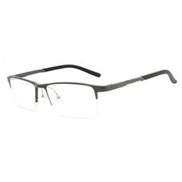 585bbbd132 Cubojue Aluminium Eyeglasses Frame Men Clear Plain Eyeglass Prescription  Spectacles Frames for Man Spring Hinge Wide Half Rim