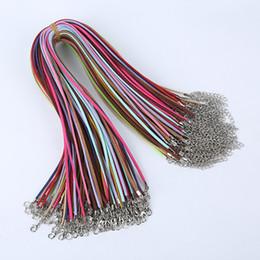 Wholesale Wholesale Suede Necklaces - 100pcs lot Suede Cord Mix Colour Korean Velvet Cord Necklace Rope:45cm+Chain: 5cm with Lobster Clasp DIY Jewelry Accessories